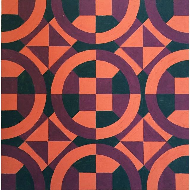 Image of Mid-Century Geometric Pattern Painting