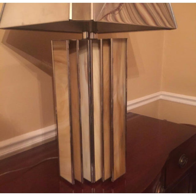 Image of Chrome and Colored Glass Modern Table Lamp