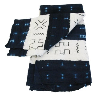 Vintage African Mud Cloth Textile Fabric Throw
