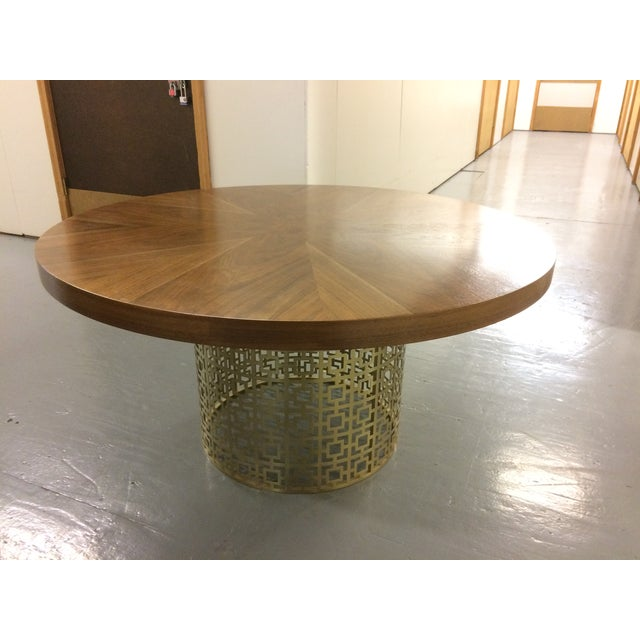 Jonathan Adler Walnut Table With Brass Base - Image 4 of 5