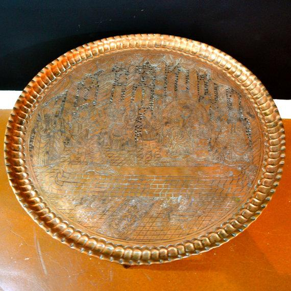 Image of Antique Engraved Brass Moroccan Tray
