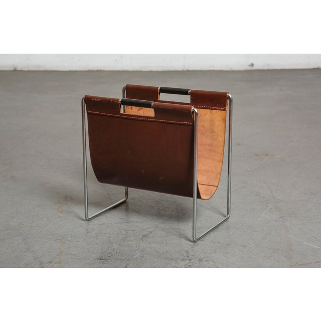 Mid-Century Leather and Chrome Magazine Stand - Image 3 of 9