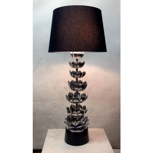 Tall Chrome Lotus Feldman Table Lamp - Pair - Image 2 of 8