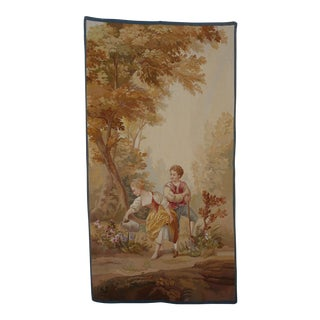 19th Century Antique Aubusson Tapestry of Young Couple