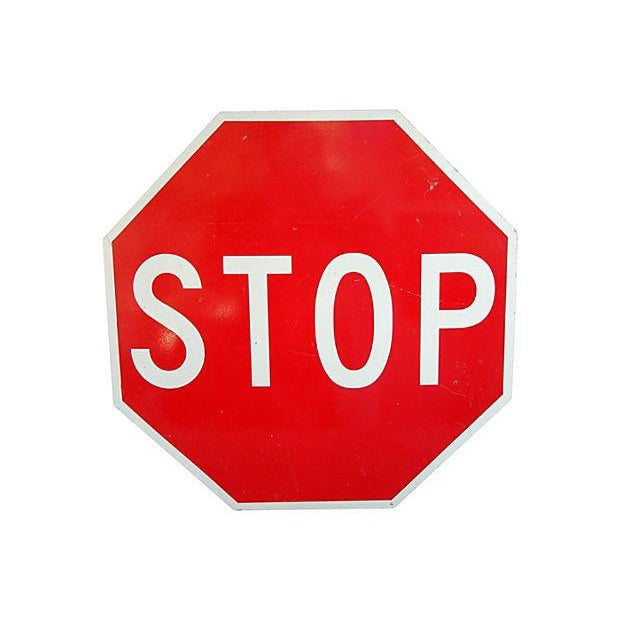 Vintage Large 1970s Metal Stop Sign - Image 1 of 2