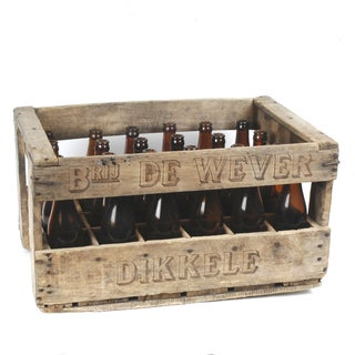 Vintage Bottle Crate From Belgium With 24 Bottles