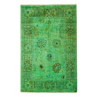 "Vibrance, Hand Knotted Modern Kelly Green Wool Area Rug - 4' 0"" X 6' 2"""
