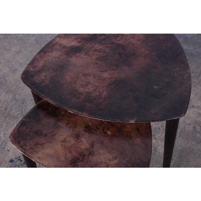 Pair of Goatskin Nesting Tables by Aldo Tura - Image 6 of 10
