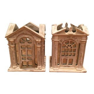 Architectural Buildings Candleholders - A Pair