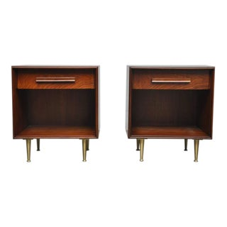 T.H. Robsjohn-Gibbings Nightstands with Brass Legs
