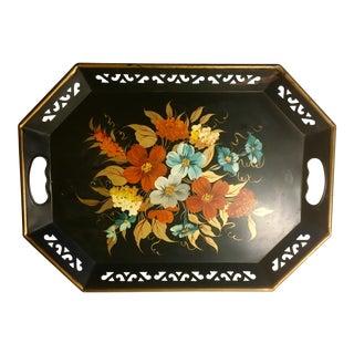 Vintage Black & Floral Serving Tray