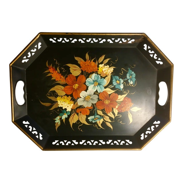 Vintage Black & Floral Serving Tray - Image 1 of 4