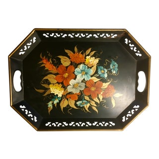 Vintage Black & Floral Serving Tray