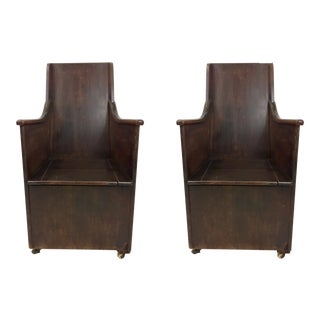Pair of 19th-C. English Oak Commodes