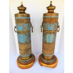 Image of Vintage Marbro Champleve Lamps - A Pair
