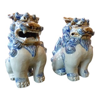 Painted & Glazed Ceramic Foo Dogs - A Pair