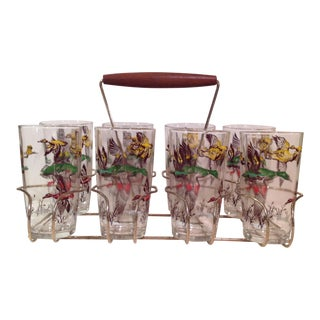 Mid-Century Modern Duck Glasses With Caddy- Set of 8