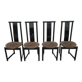1980s Black Cheetah Print Dining Chairs - Set of 4