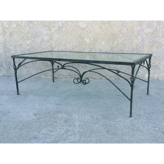 Verdigris Wrought Iron Glass Top Coffee Table Chairish