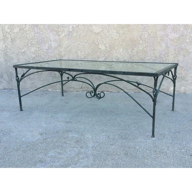 Verdigris wrought iron glass top coffee table chairish for Wrought iron and glass coffee table sets