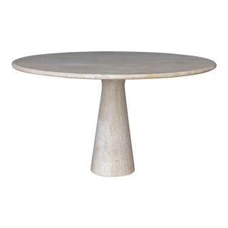 Travertine Dining Table in the style of Angelo Mangiarotti