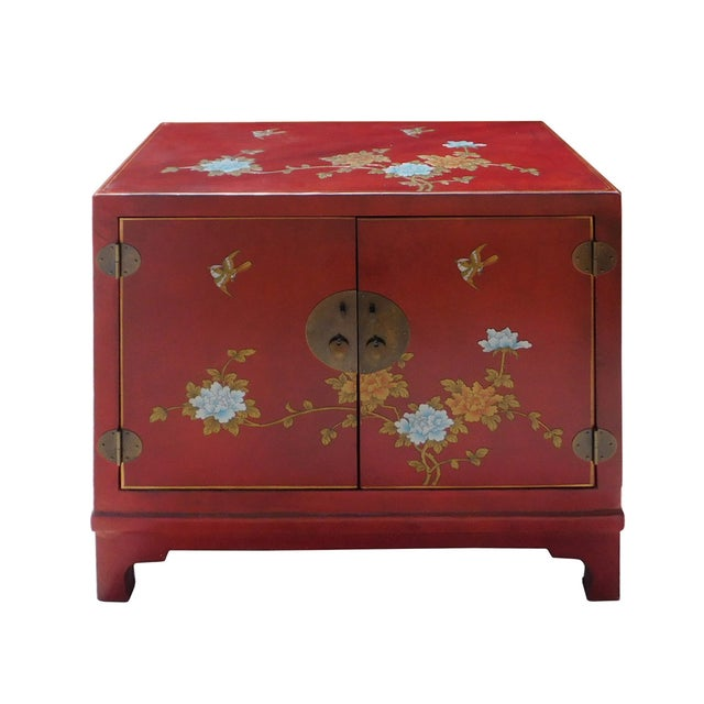 Image of Oriental Red Vinyl Flower Side Table Cabinet