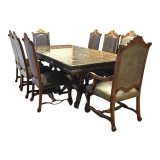 Traditional Wood & Marble Dining Set- 9 Pieces
