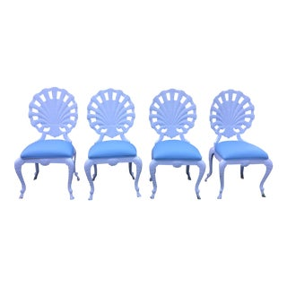Vintage Shell Grotto Aluminum Patio Chairs - Set of 4