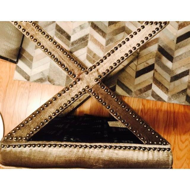 Safavieh Velvet Palmer X Bench, Pair (2 Benches/Stools) - Image 4 of 7