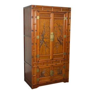 Chinese Elm Wood Faux Bamboo Incised Carved Wardrobe Armoire Cabinet. Vintage   Used Armoires   Wardrobes   Chairish