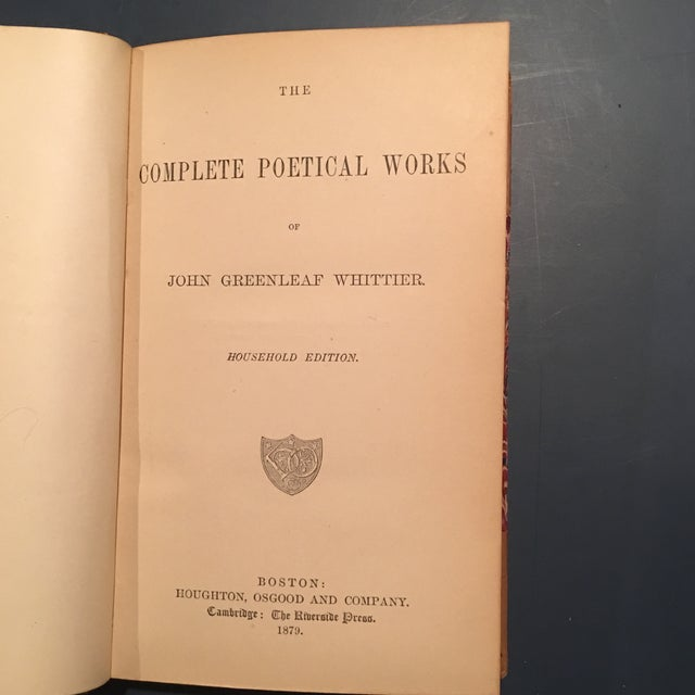 """""""Complete Poetical of John Greenleaf Whittier"""" Book - Image 5 of 7"""