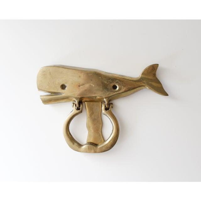 Vintage mid century brass whale door knocker chairish - Whale door knocker ...