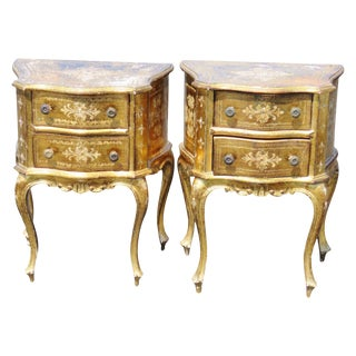 Florentine Gold Nightstands - A Pair