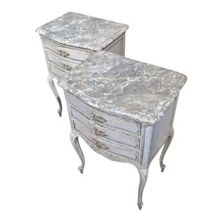 19th Century French Grey Painted Faux Marble Top Bedside Tables - a Pair