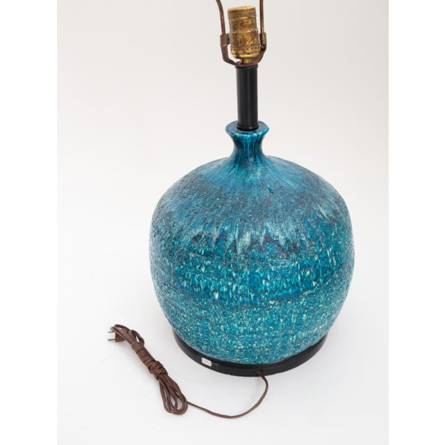 Image of Large Mid-Century Teal Lamp