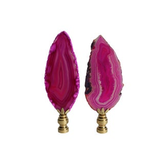 Agate Slice Lamp Finials - A Pair