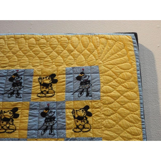 Mounted Folky and Rare Mickey & Minnie Mouse Crib Quilt - Image 5 of 7