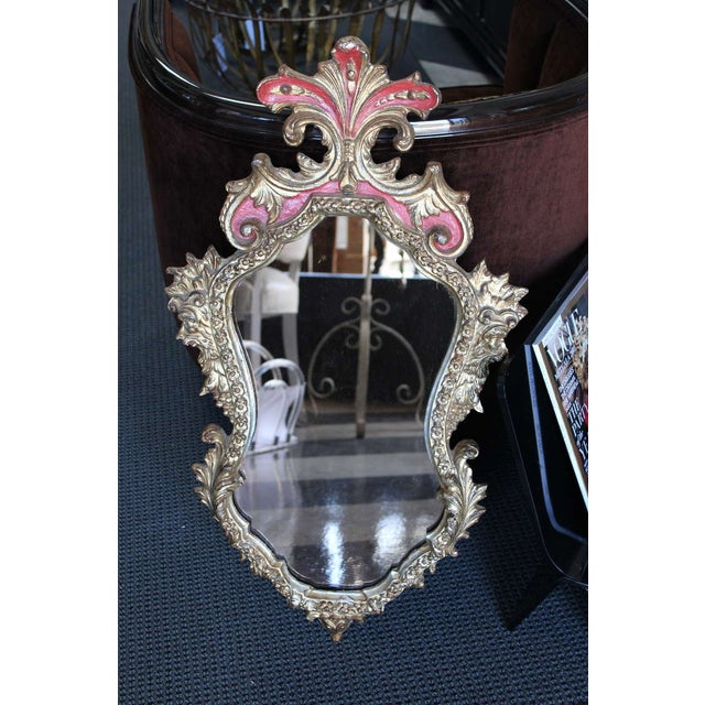 Image of Rococo Style Gilt & Red Frame Mirror