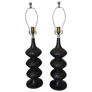 Burnished Brass Caterpillar Lamps - a Pair