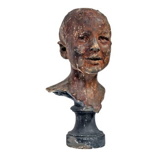 19th Century French Plaster Head of Young Boy