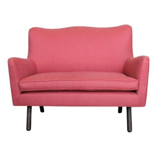 Contemporary Mod Style Settee in Coral Linen