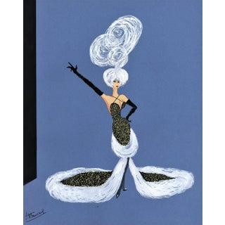 1950s Vintage Cabaret Costume Fashion Gouache Drawing