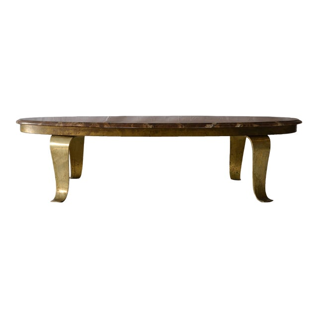 1970s Vintage Mueller Faux Marble Oval Table - Image 2 of 8