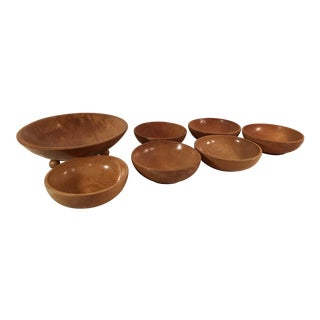 Mid-Century Modern Wooden Salad Bowls - Set of 7