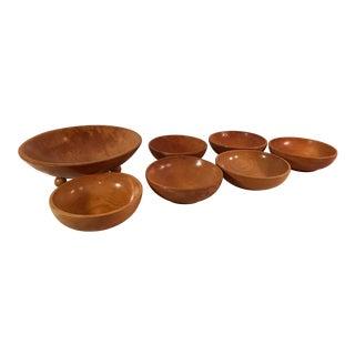 Mid-Century Modern Wooden Salad Bowls - Set of 7