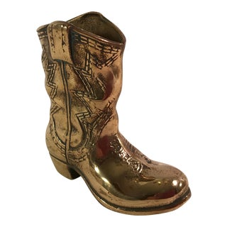 Vintage Brass Cowboy Boot Figurine