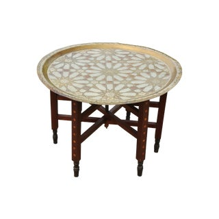 Moroccan Brass Tray Table with Geometric Motif