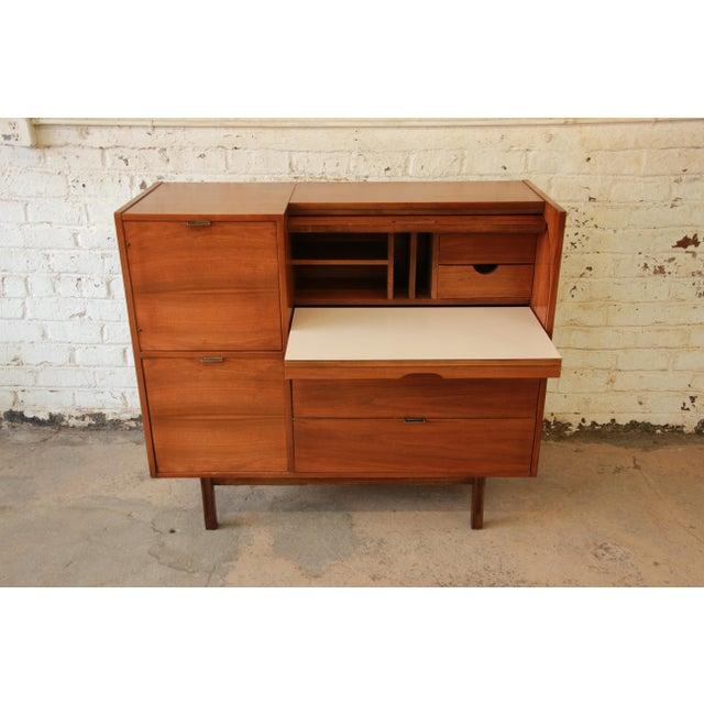 mainline by hooker mid century modern roll top desk chairish. Black Bedroom Furniture Sets. Home Design Ideas