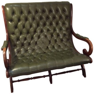 Antique English Green Leather Library Loveseat