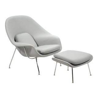 Eero Saarinen Womb Chair and Ottoman in Leather by Knoll